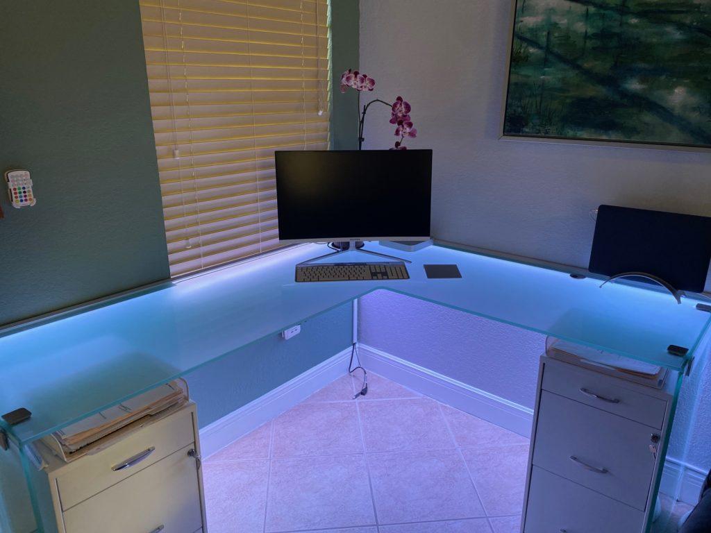 Glass Desktop with LED Lights