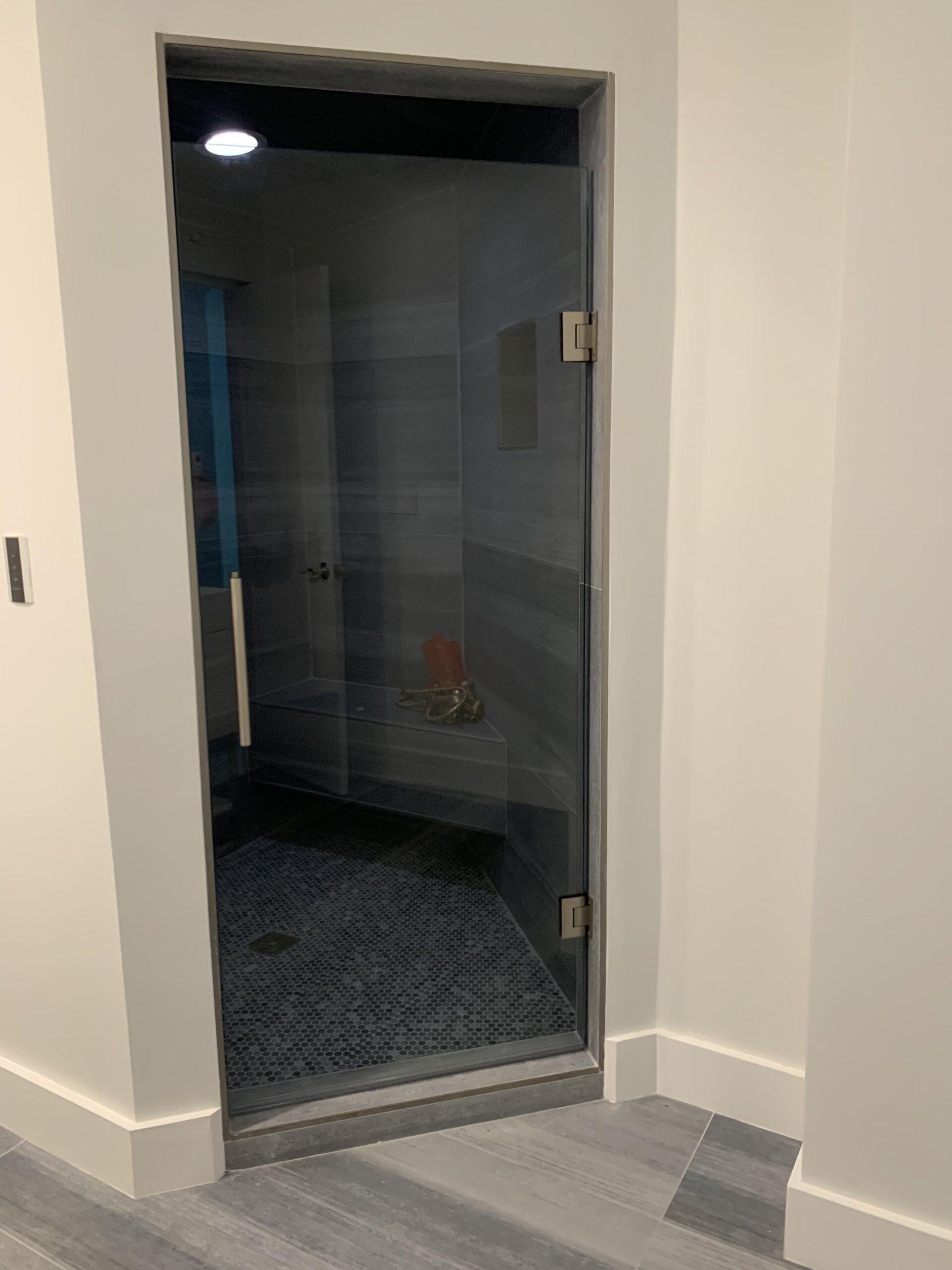 Grey glass door
