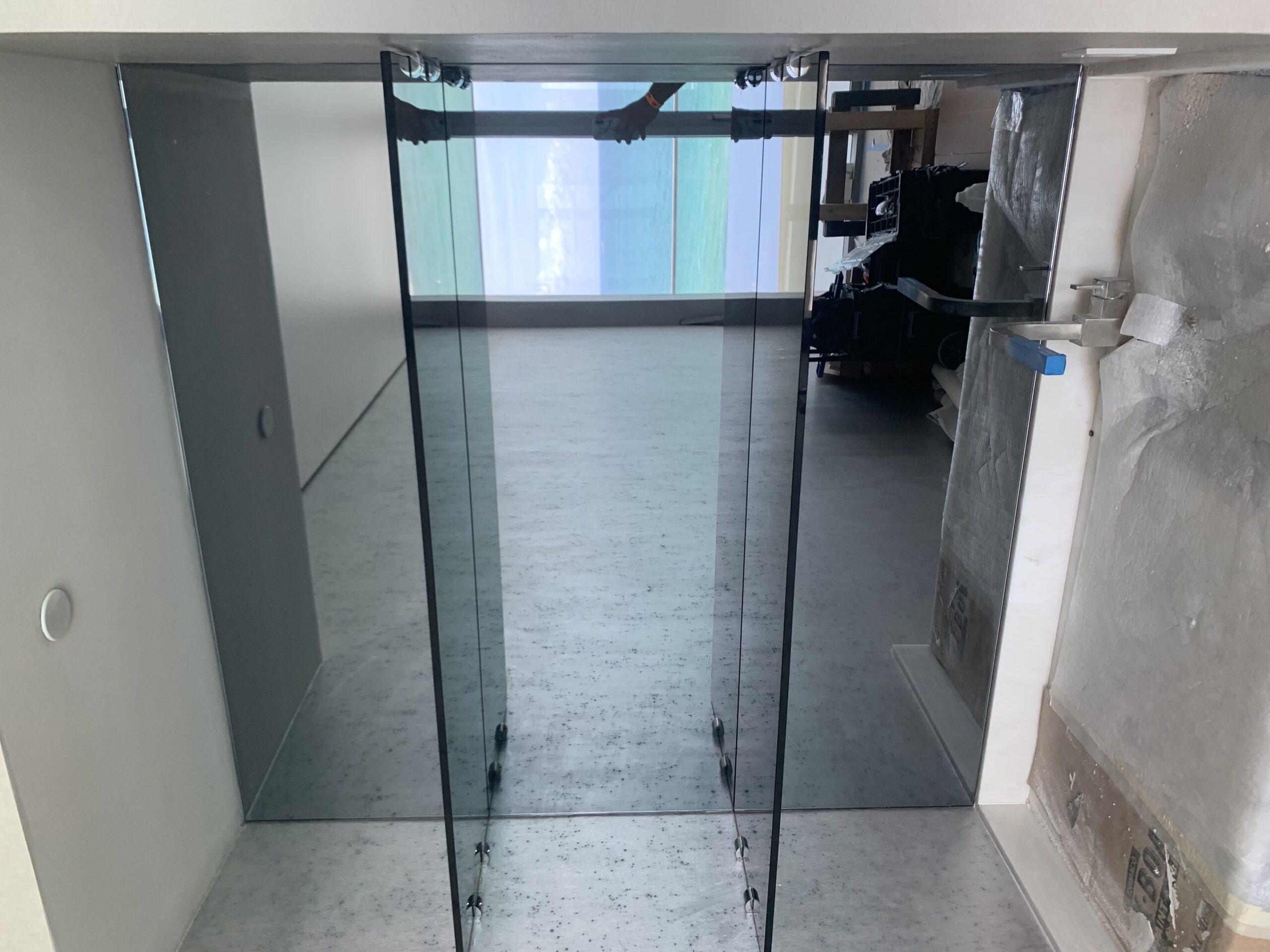 Grey glass doors