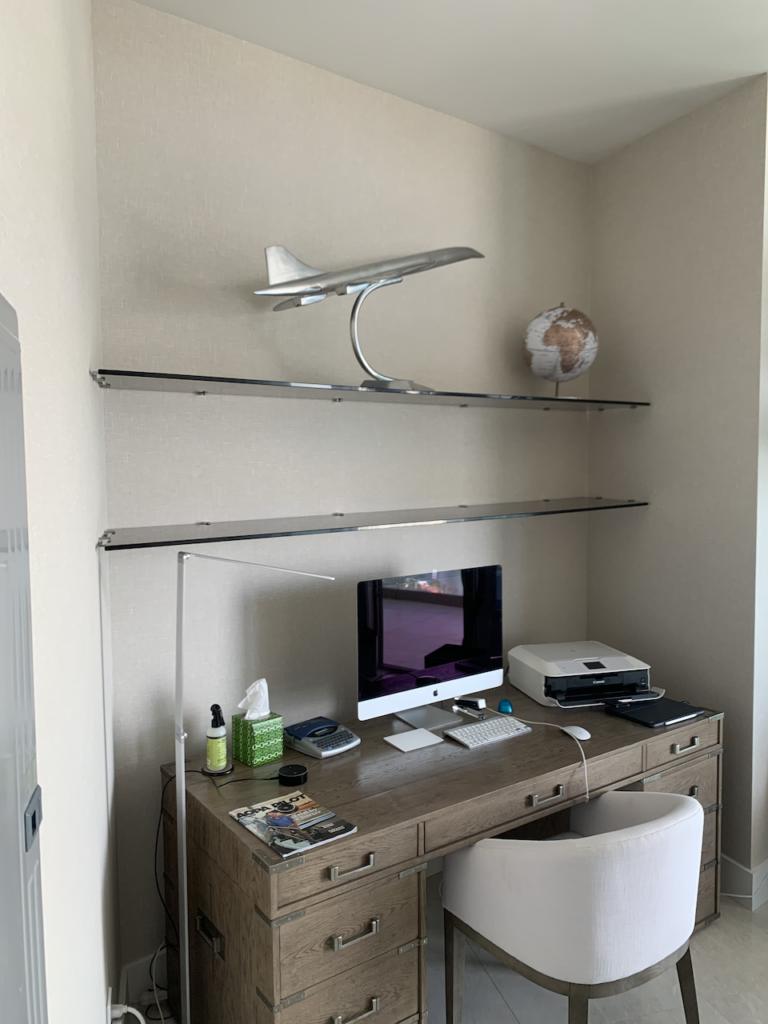 Grey glass shelves
